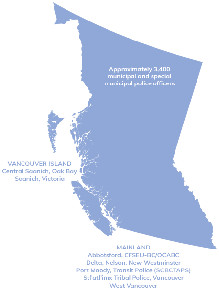 Jurisdiction map of The Office of the Police Complaint Commissioner of BC